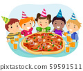 Stickman Kids Pizza Birthday Party Illustration 59591511