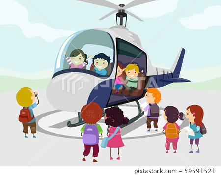 Stickman Kids Helicopter Illustration 59591521