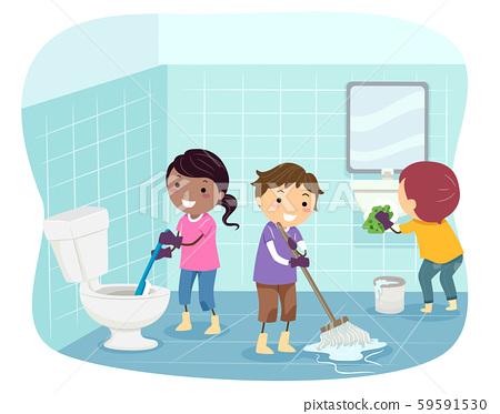 Stickman Kids Clean Toilet Illustration 59591530