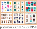Collection of lingerie Panty and bra set symbol. 59591958