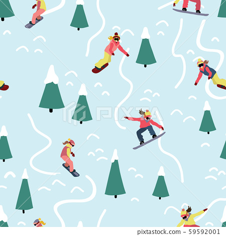 Snowboarding women seamless vector pattern. Winter sport illustration with woman on snowboard riding 59592001