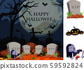 Halloween theme with zombie in graveyard 59592824