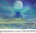 landscape with old castle and moon 59595849