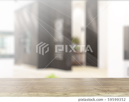 Table on defocuced interior background. 3D rendering 59599352