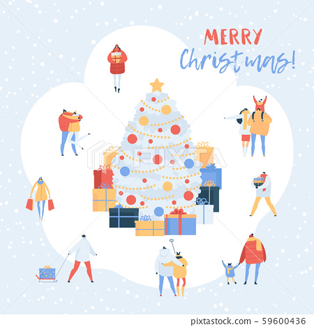 People On Christmas Vector Xmas Tree With Gifts Stock Illustration 59600436 Pixta With tenor, maker of gif keyboard, add popular xmas tree cartoon animated gifs to your conversations. pixta
