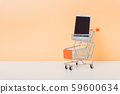 Mock up shoppong online cart and smartphone on 59600634
