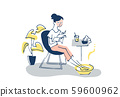 휴식 시간 팩과 족욕을하는 여성 59600962