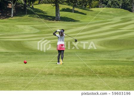 여자 골퍼 골프장 코스 티샷하는 여성 이미지 소재 59603196
