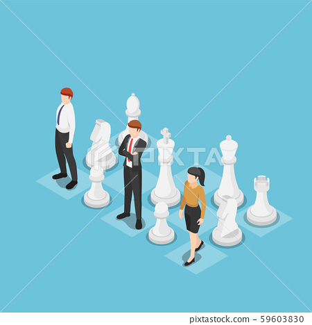 Isometric business team standing with chess 59603830