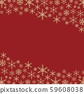 빨간색 배경과 눈송이 크리스마스 스퀘어 프레임 59608038
