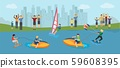 Water sport competition vector illustration. Different kinds of extremal water sport windsurfing 59608395