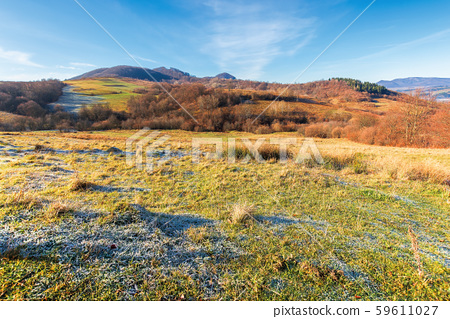 frosty morning in mountainous countryside 59611027