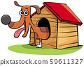 cartoon dog animal character in his doghouse 59611327