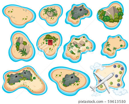 A Set of Beautiful Tropical Island 59613580