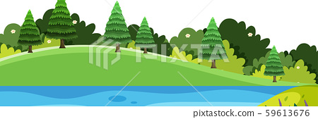 Scenery background of small hills and river 59613676