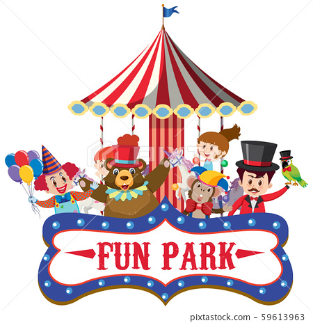 Sign template for fun park with circus animals 59613963