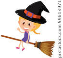 Single character of girl in witch costume on white 59613971