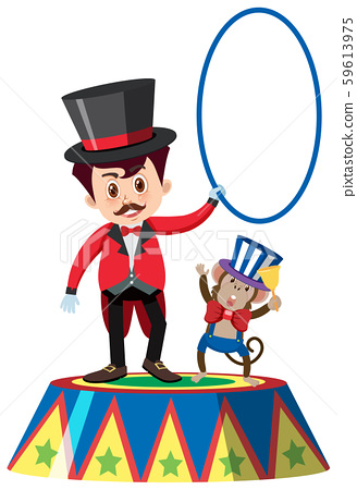 Single character of on circus master and monkey 59613975