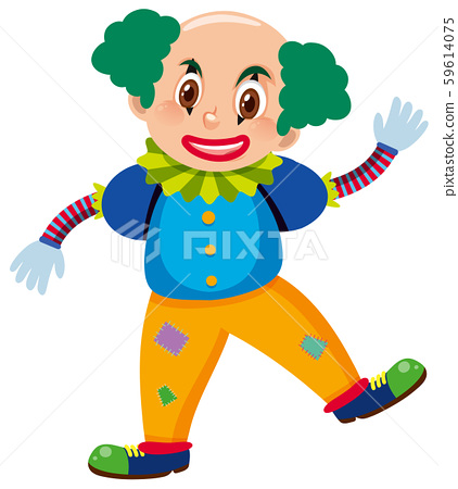 Single character of clown on white background 59614075