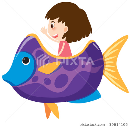 Single character of girl in purple fish on white 59614106
