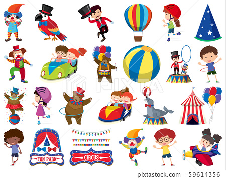 Large set of isolated objects of kids and circus 59614356