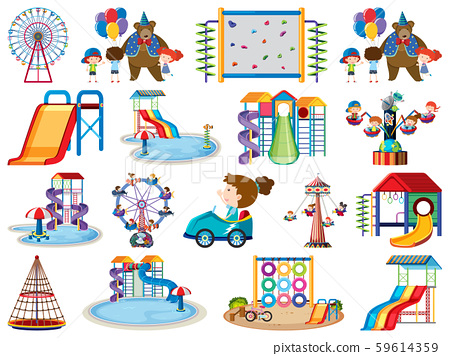 Large set of isolated objects of kids and circus 59614359