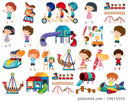 Large set of isolated objects of kids and circus 59614384