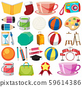Set of isolated objects theme stationeries 59614386