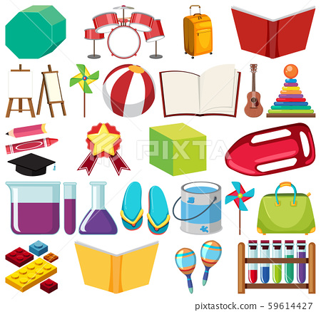 Set of isolated objects theme school 59614427
