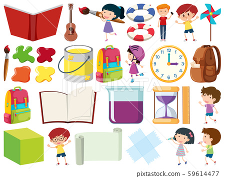 Set of isolated objects theme kids and school 59614477