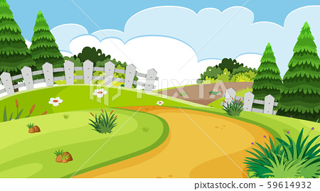Nature scene with road and fence in the park 59614932