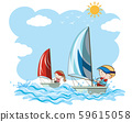 Sailboat Competition on White Background 59615058