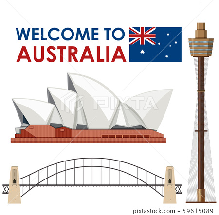Australia Landmark on White Background 59615089