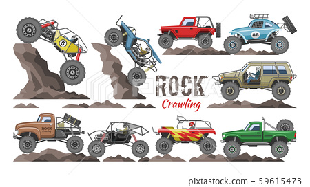 Monster truck vector cartoon rock vehicle crawling in rocks and extreme transport rocky car 59615473