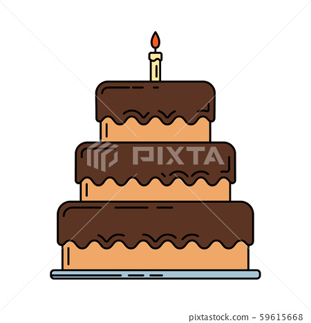 Line birthday cake, pie with candle icon. Happy birthday. Party celebration, holidays event 59615668