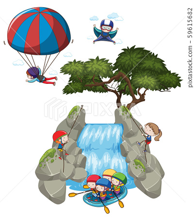 Doodle people and extreme outdoor activities 59615682