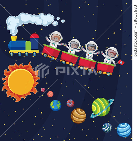 Astronaut travel in space by train 59615683