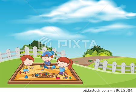 Children playing toys at the sand pit 59615684