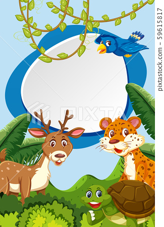 Wild animals in nature frame 59615817
