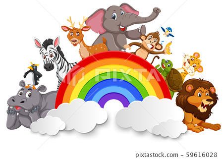 Wild animals and rainbow template 59616028