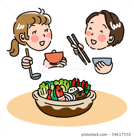 Illustration of a good couple eating chanko nabe and having a good time 59617558