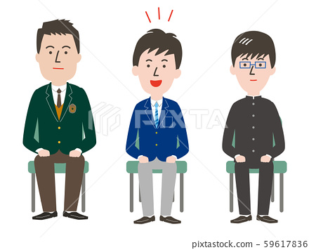 Male students undergoing group interview 59617836