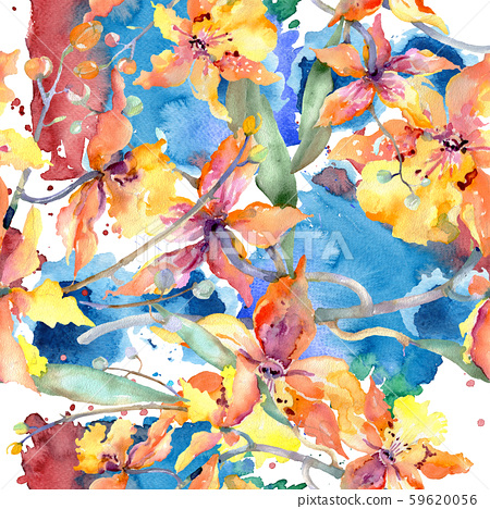 Branch of yellow orchid. Floral botanical flowers. Watercolor background illustration set. Seamless 59620056