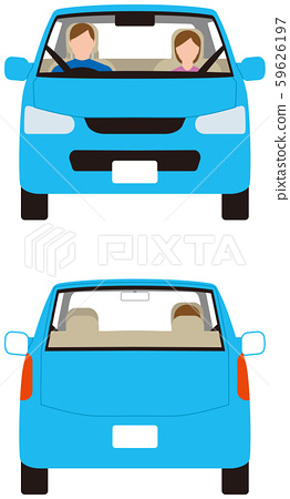 Vehicle.Compact passenger car front and back.Vector material 59626197