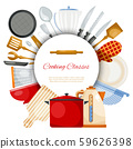 Kitchen utensils and tools round vector illustration pattern. Kitchenware for cooking, glass 59626398