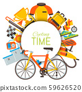 Bicycle uniform and sport accessories circle set vector illustration. Bike activity, cycling 59626520