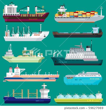 Cargo ship vector shipping transportation export trade container illustration set of industrial 59627069