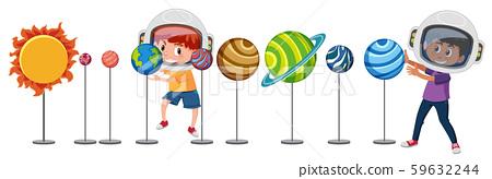 Children learn solar system 59632244