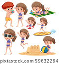 Beach girl character set 59632294