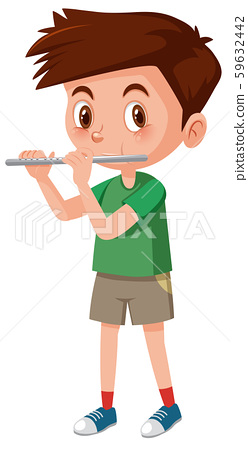 Boy playing flutes on white background 59632442
